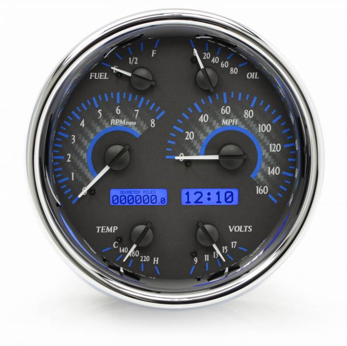Dakota Digital - DAKVHX-1019-C-B - Single Round VHX System, Carbon Fiber Style Face, Blue Display