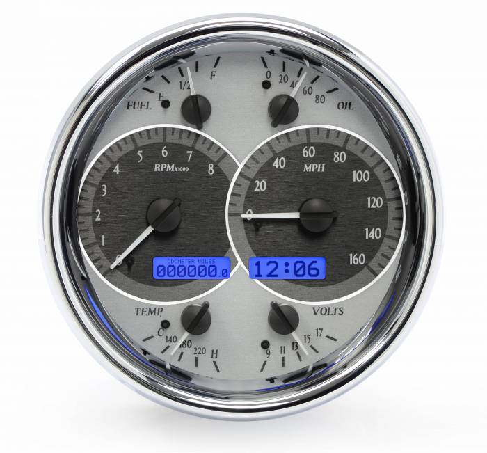 Dakota Digital - DAKVHX-1019-S-B - Single Round VHX System, Silver Alloy Style Face, Blue Display