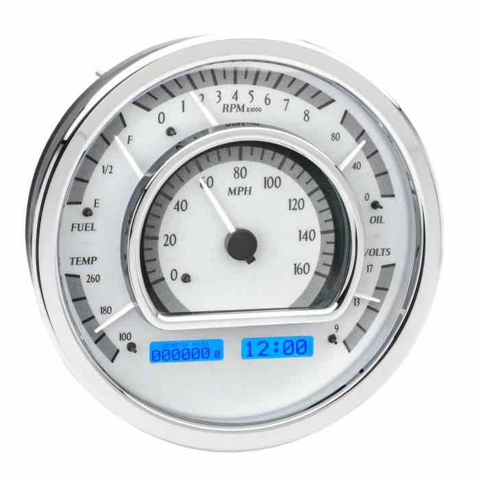 Dakota Digital - DAKVHX-1021-S-B - Universal Round Multi-Level VHX System, Silver Alloy Style Face, Blue Display