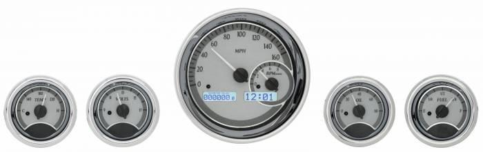 Dakota Digital - DAKVHX-1022-S-W - 5-Piece Round Universal VHX System, Silver Alloy Style Face, White Display