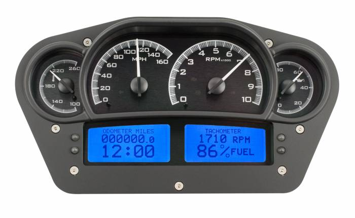 Dakota Digital - DAKVHX-1100-K-B - Race Inspired VHX System, Black Alloy Style Face, Blue Display