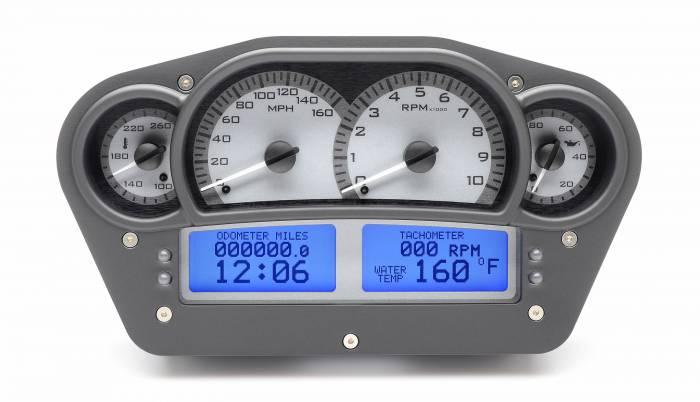 Dakota Digital - DAKVHX-1100-S-B - Race Inspired VHX System, Silver Alloy Style Face, Blue Display
