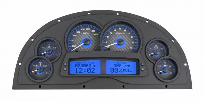 Dakota Digital - DAKVHX-1200-C-B - 1967-69 Camaro Marquez Designs Dash VHX System, Carbon Fiber Style Face, Blue Display