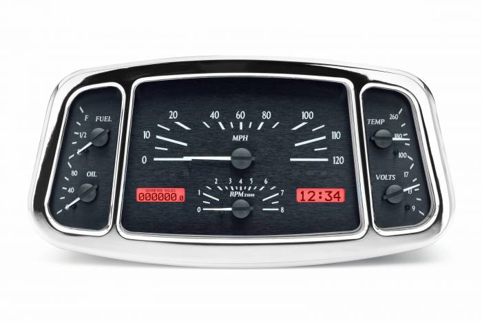 Dakota Digital - DAKVHX-33F-K-R - 1933-34 Ford Car VHX System, Black Alloy Style Face, Red Display