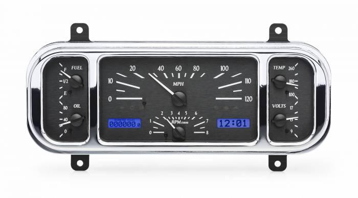 Dakota Digital - DAKVHX-37C-K-B - 1937-38 Chevy Car VHX System, Black Alloy Style Face, Blue Display