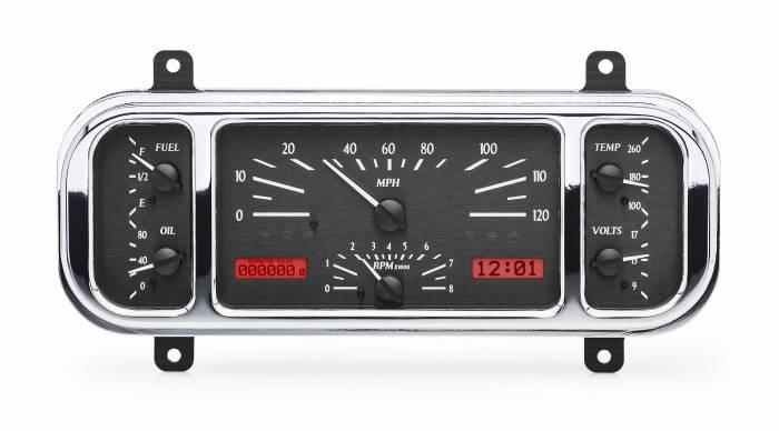 Dakota Digital - DAKVHX-37C-K-R - 1937-38 Chevy Car VHX System, Black Alloy Style Face, Red Display