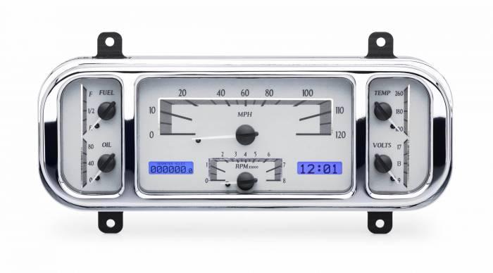 Dakota Digital - DAKVHX-37C-S-B - 1937-38 Chevy Car VHX System, Silver Alloy Style Face, Blue Display
