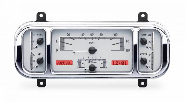 Dakota Digital - DAKVHX-37C-S-R - 1937-38 Chevy Car VHX System, Silver Alloy Style Face, Red Display