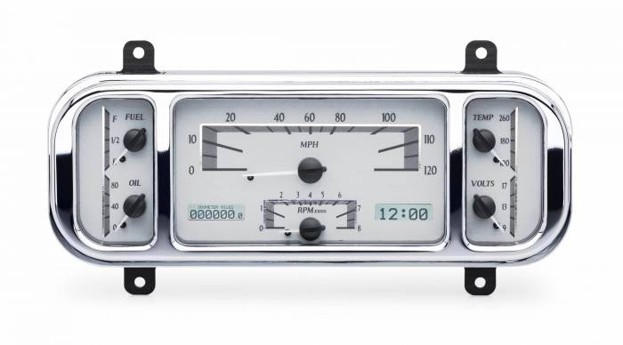 Dakota Digital - DAKVHX-37C-S-W - 1937-38 Chevy Car VHX System, Silver Alloy Style Face, White Display