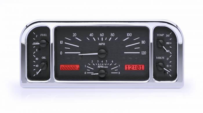 Dakota Digital - DAKVHX-37F-K-R - 1937-38 Ford Car VHX System, Black Alloy Style Face, Red Display