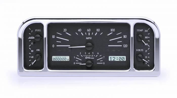 Dakota Digital - DAKVHX-37F-K-W - 1937-38 Ford Car VHX System, Black Alloy Style Face, White Display