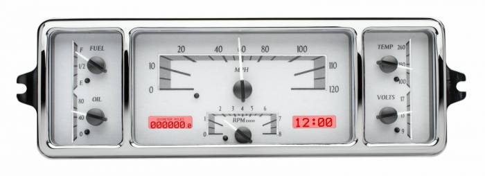 Dakota Digital - DAKVHX-39C-S-R - 1939 Chevy Car VHX System, Silver Alloy Style Face, Red Display