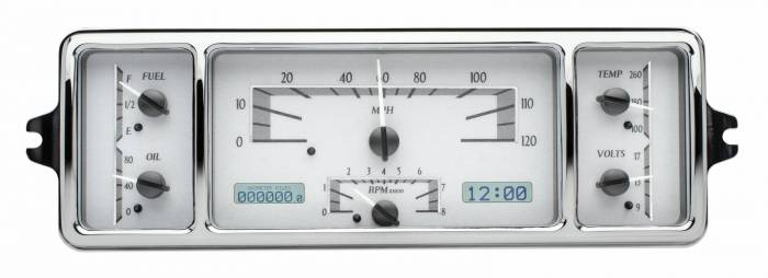 Dakota Digital - DAKVHX-39C-S-W - 1939 Chevy Car VHX System, Silver Alloy Style Face, White Display