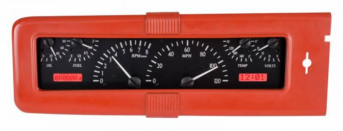 Dakota Digital - DAKVHX-40C-K-R - 1940 Chevy Car VHX System, Black Alloy Style Face, Red Display