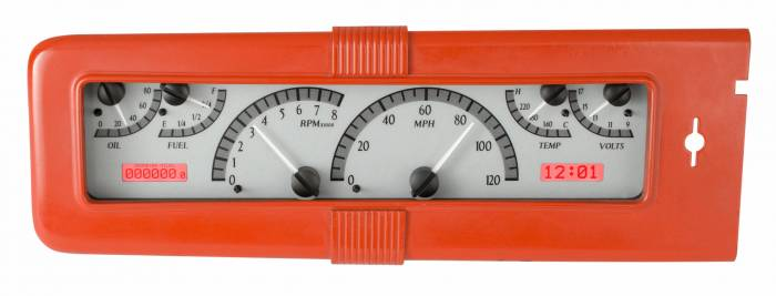 Dakota Digital - DAKVHX-40C-S-R - 1940 Chevy Car VHX System, Silver Alloy Style Face, Red Display