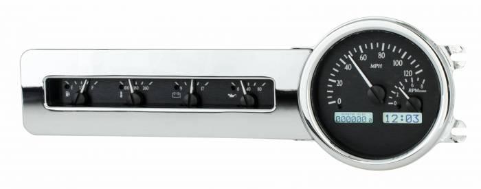 Dakota Digital - DAKVHX-41C-K-W - 1941-48 Chevy Car VHX System, Black Alloy Style Face, White Display
