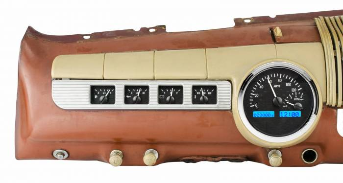 Dakota Digital - DAKVHX-42F-K-B - 1942-48 Ford Car VHX System, Black Alloy Style Face, Blue Display