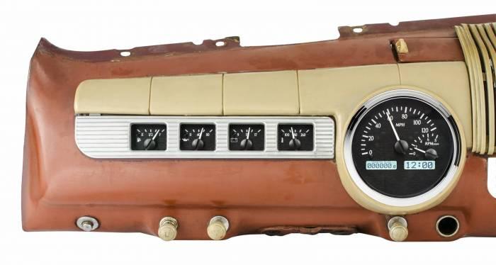 Dakota Digital - DAKVHX-42F-K-W - 1942-48 Ford Car VHX System, Black Alloy Style Face, White Display