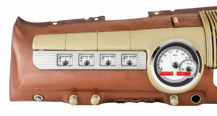 Dakota Digital - DAKVHX-42F-S-R - 1942-48 Ford Car VHX System, Silver Alloy Style Face, Red Display