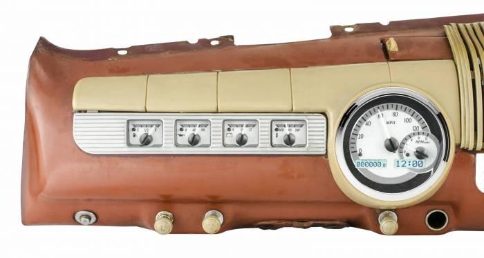Dakota Digital - DAKVHX-42F-S-W - 1942-48 Ford Car VHX System, Silver Alloy Style Face, White Display