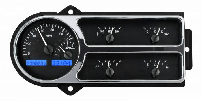 Dakota Digital - DAKVHX-48F-PU-K-B - 1948-50 Ford Truck VHX System, Black Alloy Style Face, Blue Display