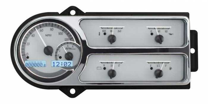 Dakota Digital - DAKVHX-48F-PU-S-W - 1948-50 Ford Truck VHX System, Silver Alloy Style Face, White Display