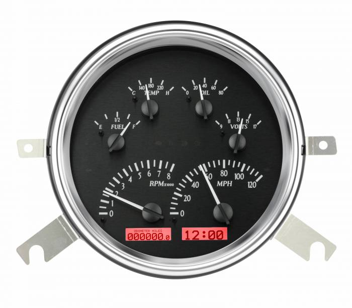 Dakota Digital - DAKVHX-49C-K-R - 1949-50 Chevy Car VHX System, Black Alloy Style Face, Red Display