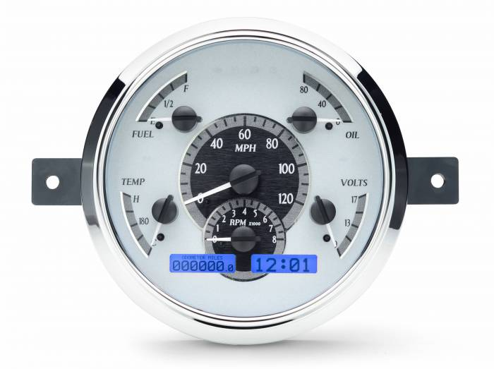 Dakota Digital - DAKVHX-49F-S-B - 1949-50 Ford Car VHX System, Silver Alloy Style Face, Blue Display