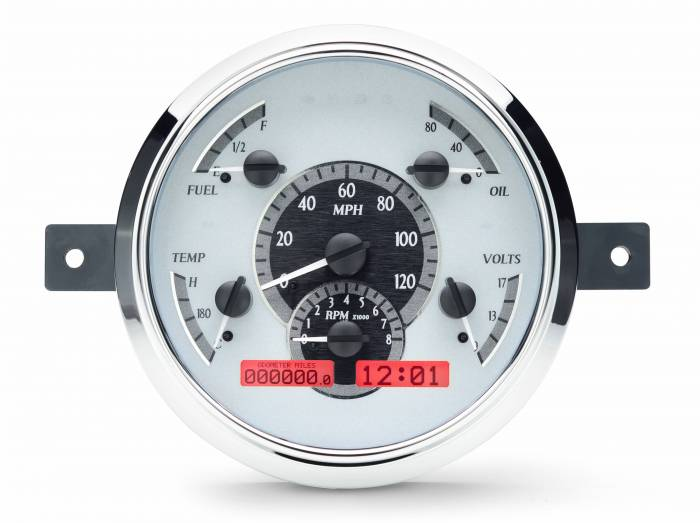 Dakota Digital - DAKVHX-49F-S-R - 1949-50 Ford Car VHX System, Silver Alloy Style Face, Red Display