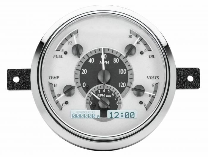 Dakota Digital - DAKVHX-49F-S-W - 1949-50 Ford Car VHX System, Silver Alloy Style Face, White Display