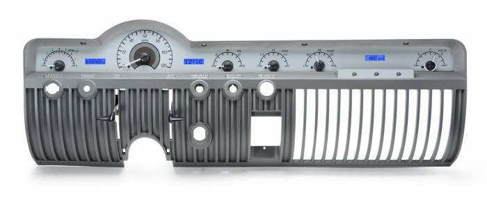 Dakota Digital - DAKVHX-50M-S-B - 1950-51 Mercury VHX System, Silver Alloy Style Face, Blue Display
