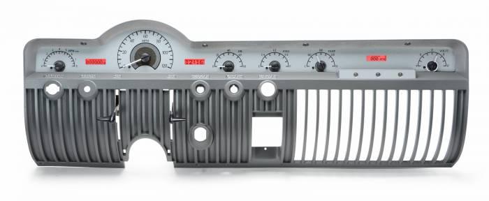 Dakota Digital - DAKVHX-50M-S-R - 1950-51 Mercury VHX System, Silver Alloy Style Face, Red Display