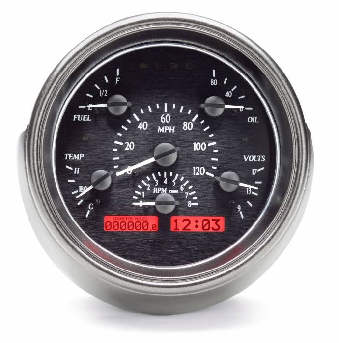 Dakota Digital - DAKVHX-51F-K-R - 1951 Ford Car VHX System, Black Alloy Style Face, Red Display