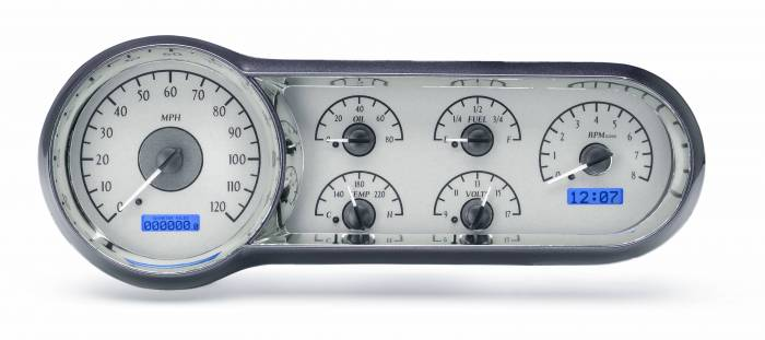 Dakota Digital - DAKVHX-53C-S-B - 1953-54 Chevy Car VHX System, Silver Alloy Style Face, Blue Display