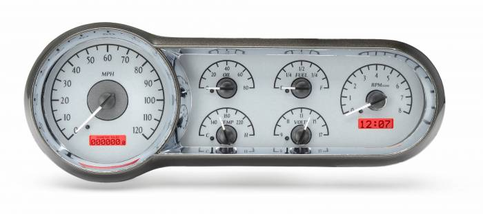 Dakota Digital - DAKVHX-53C-S-R - 1953-54 Chevy Car VHX System, Silver Alloy Style Face, Red Display