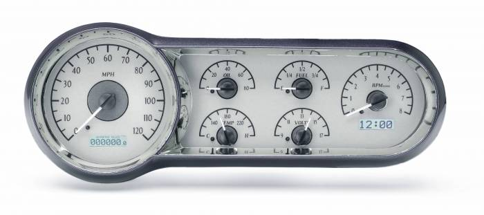 Dakota Digital - DAKVHX-53C-S-W - 1953-54 Chevy Car VHX System, Silver Alloy Style Face, White Display