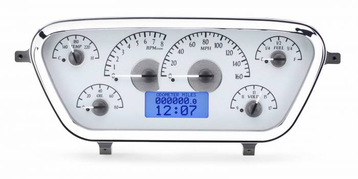 Dakota Digital - DAKVHX-53F-PU-S-B - 1953-55 Ford F100 VHX System, Silver Alloy Style Face, Blue Display