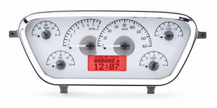 Dakota Digital - DAKVHX-53F-PU-S-R - 1953-55 Ford F100 VHX System, Silver Alloy Style Face, Red Display