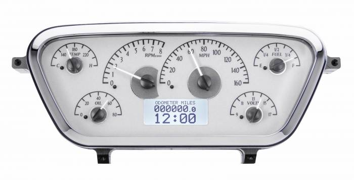 Dakota Digital - DAKVHX-53F-PU-S-W - 1953-55 Ford F100 VHX System, Silver Alloy Style Face, White Display