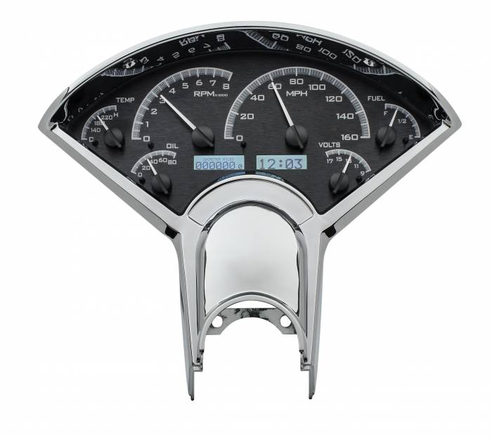 Dakota Digital - DAKVHX-55C-K-W - 1955-56 Chevy Car VHX System, Black Alloy Style Face, White Display