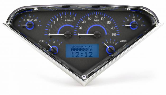 Dakota Digital - DAKVHX-55C-PU-C-B - 1955-59 Chevy Pickup VHX System, Carbon Fiber Style Face, Blue Display