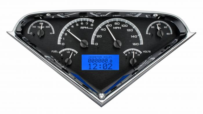 Dakota Digital - DAKVHX-55C-PU-K-B - 1955-59 Chevy Pickup VHX System, Black Alloy Style Face, Blue Display