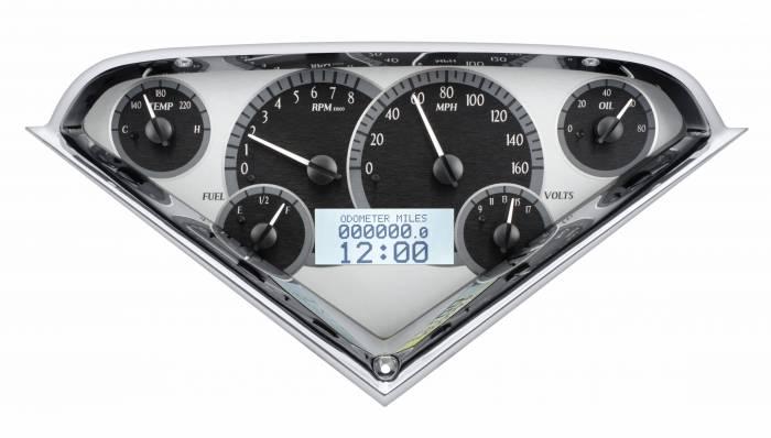 Dakota Digital - DAKVHX-55C-PU-S-W - 1955-59 Chevy Pickup VHX System, Silver Alloy Style Face, White Display