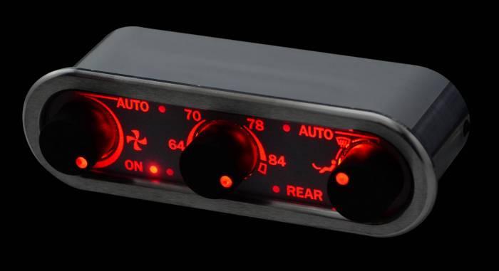 Dakota Digital - DAKDCC-3000HS-S-R - DCC Digital Climate Control - Vintage Air Gen IV 3-Knob, Horizontal, Satin, Silver Alloy, Red Display