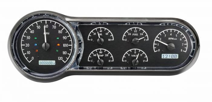Dakota Digital - DAKVHX-53C-K-W - 1953-54 Chevy Car VHX System, Black Alloy Style Face, White Display