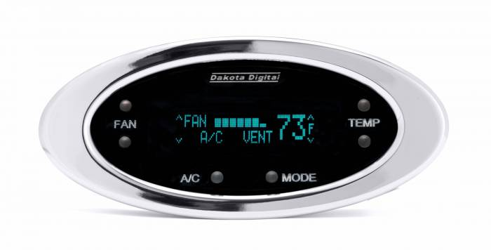 Dakota Digital - DAKDCC-2300-C-T - Digital Elliptical Climate Control system, fits Vintage Air Gen II, Chrome, Teal Display