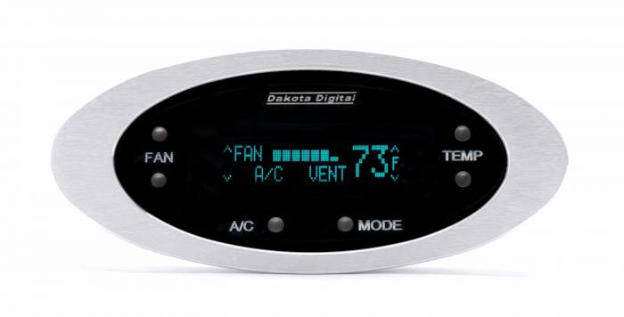 Dakota Digital - DAKDCC-2300-S-T - Digital Elliptical Climate Control system, fits Vintage Air Gen II, Satin Bezel, Teal Display
