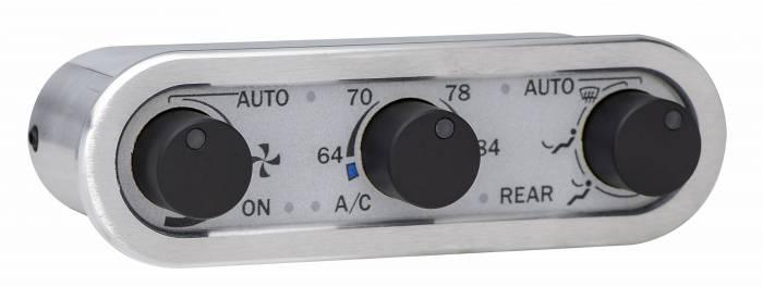 Dakota Digital - DAKDCC-3000HS-S-W - DCC Digital Climate Control - Vintage Air Gen IV 3-Knob, Horizontal, Satin, Silver Alloy, White Display