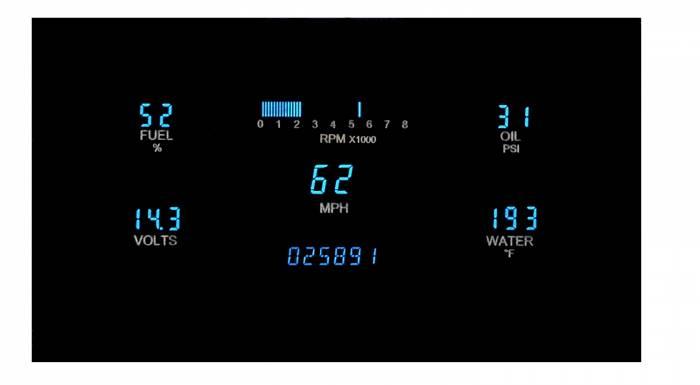 """Dakota Digital - DAKVFD3-1007-Z - Five gauge system for 3"""" x 7"""" opening w/Blue and Teal Lenses"""