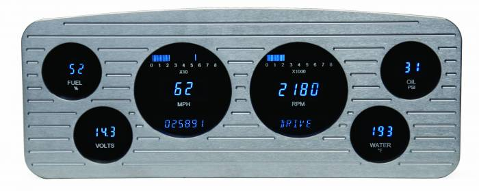 Dakota Digital - DAKVFD3-36C-Z - 36 Chevrolet six gauge VFD system w/Blue and Teal Lenses